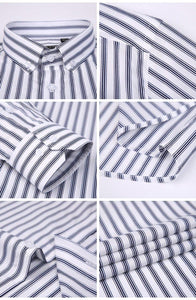 Men's Formal Short Sleeve Multi Striped Office Shirts Comfortable Slim Fit 100% Cotton Thin Casual Button Collar Dress Shirt