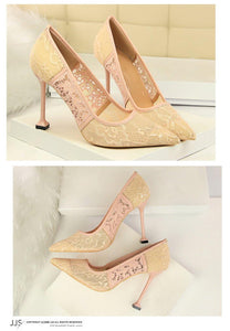 Lace Thin High Heel Pumps Women High Heels Shallow Embroider Woman Sexy Sweet Party Wedding Ladies Shoes