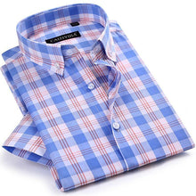 Load image into Gallery viewer, Men's Checkered Plaid Short Sleeve Dress Shirt Worn-in Comfortable Pure Cotton Thin Smart Casual Regular-fit Button-down Shirts