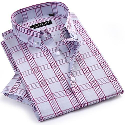 Men's Checkered Plaid Short Sleeve Dress Shirt Worn-in Comfortable Pure Cotton Thin Smart Casual Regular-fit Button-down Shirts