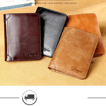 Load image into Gallery viewer, Men Wallet Real Cowskin Short Male Purse Wallet Genuine Leather Card Holder Business Men Trifold Leather Card Wallet Men