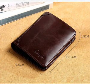 Men Wallet Real Cowskin Short Male Purse Wallet Genuine Leather Card Holder Business Men Trifold Leather Card Wallet Men
