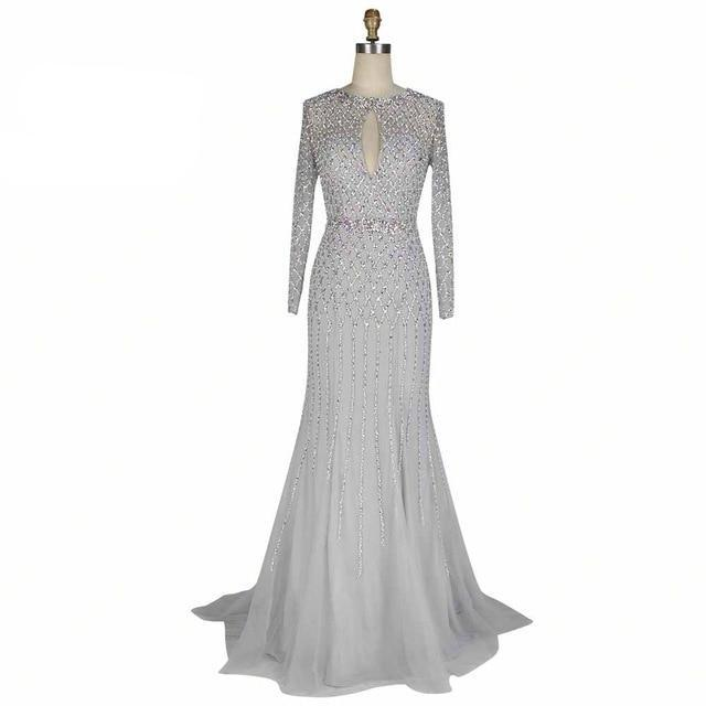 Hand Made Full Crystal Beading Long Evening Dress Long Sleeve Backless - moonaro