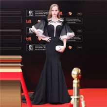 Load image into Gallery viewer, Luxury Black O-Neck Sexy Backless Mermaid Floor Length Evening Dress Party