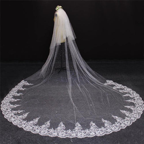 2019 Real Photos 4 Meters Two Layers Lace at Bottom Sequined Tulle Wedding Veil Ivory 2 T 4 M Long Bridal Veils - moonaro