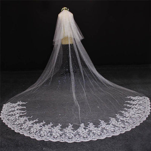 2019 New Arrival Two Layers Lace at Bottom Sequined Tulle Ivory Wedding Veil Beautiful 2 T Bridal Veil - moonaro