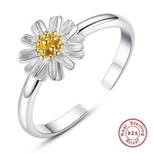 Load image into Gallery viewer, New 925 Sterling Silver Daisy Flower Finger Rings for Women Wedding Silver Open Ring Adjustable Jewelry Gift