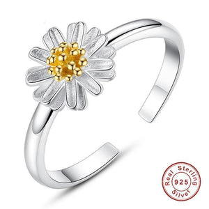New 925 Sterling Silver Daisy Flower Finger Rings for Women Wedding Silver Open Ring Adjustable Jewelry Gift - moonaro