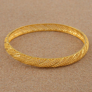 4 Pieces/Lot Gold Color Bangle for Women Bride Wedding Bracelet Jewelry - moonaro