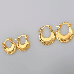 Anniyo (Width 1.5CM/1.1CM) Kids Earrings Gold Color SMALL Earring Girls Fashion Jewelry - moonaro