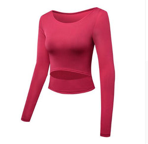 Women Sexy Sports Top Yoga Shirts Fitness Crop Long Sleeve Solid Running Shirt Sport Jerseys Gym Clothes Sportswear