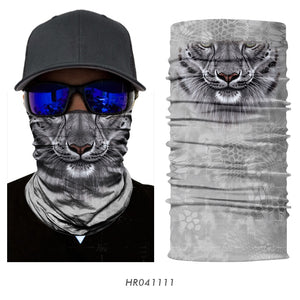 3D Animal Seamless Magic Neck Gaiter Face Mask Balaclava Shield Camping Cycling Fishing Biker Bandana Headband Scarf Men Women - moonaro