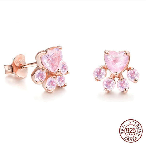 Sterling Silver Pink Dog Paw Stud Earrings CZ Bear Jewelry Dog Paw Earring Female Piercing Small Animal Earrings
