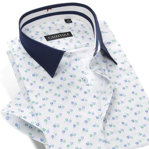 Men's Floral All Over Print Short Sleeve Slim Fit Shirt Breathable Cotton Smart Casual Thin Contrast Collar Floral Dress Shirts
