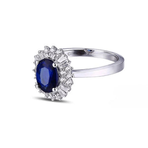18KT/750 White Gold 1.14 ct Natural Sapphire y &  0.38 ct Full Cut Diamond Engagement Gemstone Ring Jewelry - moonaro