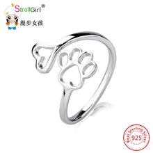 Load image into Gallery viewer, Labrador retriever ring Puppy Dog Paw Open dog pet paw fashion jewelry accessories 925 sterling silver rings for women girls