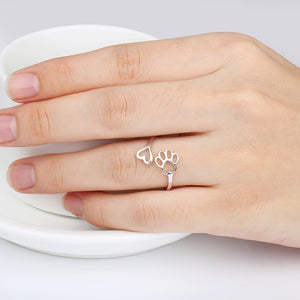 Labrador retriever ring Puppy Dog Paw Open dog pet paw fashion jewelry accessories 925 sterling silver rings for women girls