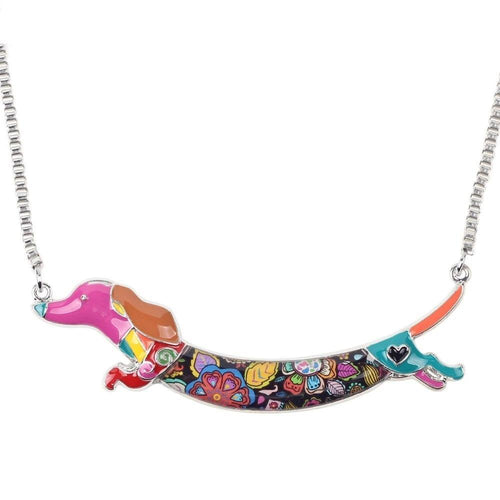 Enamel Animal Pets Dachshund Dog Choker Necklace Chain Collar Pendant Fashion New Jewelry