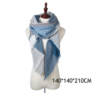 WISHCLUB Plaid Winter Scarf Ladies Brand Warm Scarves Women Fashion Triangle Winter Shawl Blanket Scarf Female
