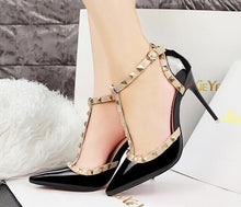Load image into Gallery viewer, Women's shoes Summer fashion female sandals rivet Metal decoration pu leather style women high heels
