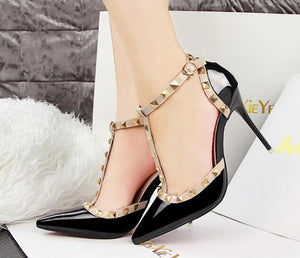 Women's shoes Summer fashion female sandals rivet Metal decoration pu leather style women high heels