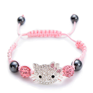 Handmade Cute Children Silver Cat Bracelet for Kids Girls Boys Crystal Beads Connected Braid Charm Bracelets Jewelry