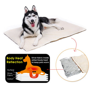 Dog and cat Self Heating Pad Pet Warming Cushion Bed for Medium Large Dogs and Cats Reflects Pets Own Thermal with Zipper Washable - moonaro