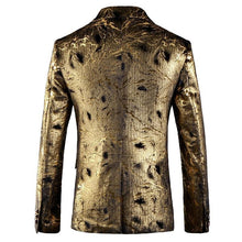 Load image into Gallery viewer, Gold Blazer For Men Slim Fit Men Floral Print Blazer Jacket 5XL British Style Prom Party Wedding Blazers