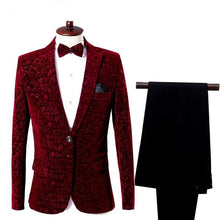 Load image into Gallery viewer, Tuxedos Suits & Blazer men Floral men's blazer jacket 2 pieces Jacket+Pants Wine red flowers wedding suits for men slim fit