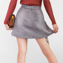 Load image into Gallery viewer, Women Multi Colors Suede A-Line Mini Skirt Autumn Winter Buttons Girls Skater Skirt High Waist Femininas