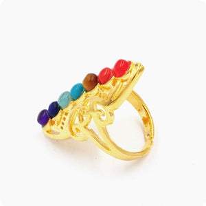 7 Chakra Stone Bead Finger Rings Reiki Balance Meditation Healing Point Charm Adjustable Yoga Hollow Flower Women Ring - moonaro