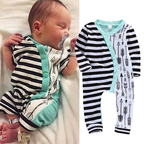 Baby Girl Boy Clothes Rompers Long Sleeve Stripe Cute Romper Jumpsuit Outfits Baby Boys Girls Clothes - moonaro