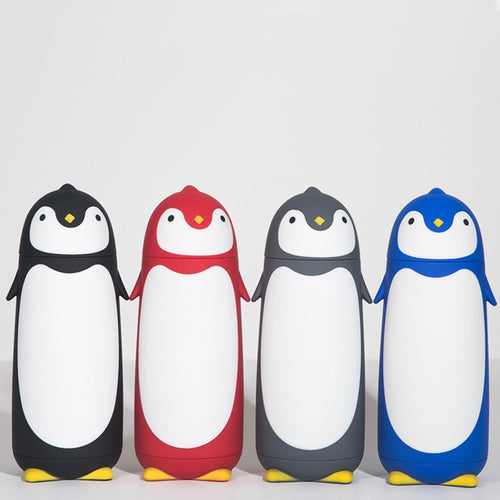 280ml Cute Penguin Thermos Cup Stainless Steel inner Food grade Plastic Cover Cartoon Insulated Water Bottle
