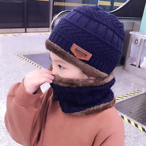 2pcs warm Winter Beanies Knitted Hat and scarf for 3-12 years old girls and boys students Hats Caps Hat - moonaro