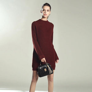 Autumn Winter Solid Knitted Cotton Sweater Dresses Women Loose O-neck Pullover Knitted Dress