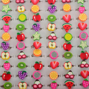 Wholesale 10pcs Mixed Colors Children Cute Fruits Shape Cartoon Rings Jewelry Send Randomly For Kids Best Gifts
