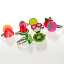 Load image into Gallery viewer, Wholesale 10pcs Mixed Colors Children Cute Fruits Shape Cartoon Rings Jewelry Send Randomly For Kids Best Gifts