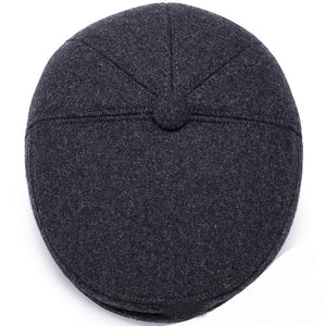 Men Caps Hats Autumn Winter Hats with Ear Flap Vintage Flat Caps Wool Blend Berets Men Casual Warm Beret Caps