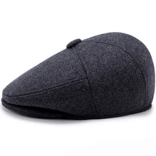 Load image into Gallery viewer, Men Caps Hats Autumn Winter Hats with Ear Flap Vintage Flat Caps Wool Blend Berets Men Casual Warm Beret Caps