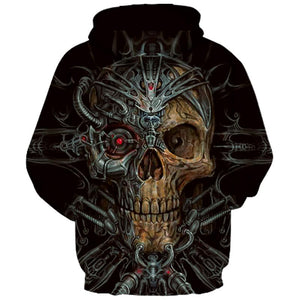 New Fashion Men/Women Hooded Hoodies 3d Print Metal Skull Thin 3d Sweatshirts Brand Hoodies
