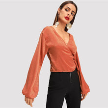 Load image into Gallery viewer, Orange Wrap Elegant Blouse Women  Autumn Long Sleeve Girls Work Blouse Shirt Fashion Sexy Women Tops And Blouses