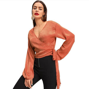 Orange Wrap Elegant Blouse Women  Autumn Long Sleeve Girls Work Blouse Shirt Fashion Sexy Women Tops And Blouses