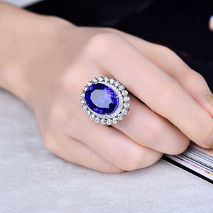 18Kt White Gold Genuine Tanzanite Women Ring Real Diamond Jewelry Dual Use Function Jewelry Rings Pendant - moonaro