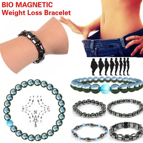 1 PCS Weight Loss Healthcare Round Black Stone Magnetic Therapy Hand Chain Body Care Hematite Stretch Bracelets Magnet Jewelry - moonaro