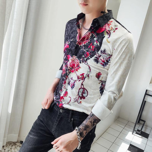 Flower Print Man Fit Casual shirt Male Long Sleeve Shirt