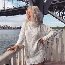 Load image into Gallery viewer, sweater dress  winter twist fashion white long jumper knitwear slit women sweaters and pullovers