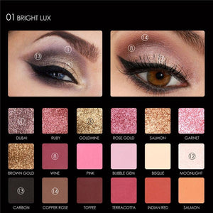 18 Colors Glitter Matte Easy to Wear Warm Smokey Eye Shadow Palette Eyes Cosmetics - moonaro