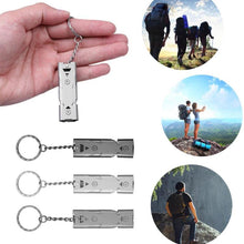 Load image into Gallery viewer, High Quality Double Pipe  Whistle High Decibel Stainless Steel Outdoor Emergency Survival Whistle Key chain Cheer leading Whistle