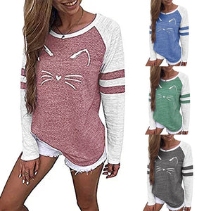 Fashion Long Sleeve  T-shirt Autumn Spring Cat Printing Loose Tshirt Female Clothes Women Shirts Casual T Shirt Tops - moonaro