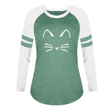 Load image into Gallery viewer, Fashion Long Sleeve  T-shirt Autumn Spring Cat Printing Loose Tshirt Female Clothes Women Shirts Casual T Shirt Tops - moonaro